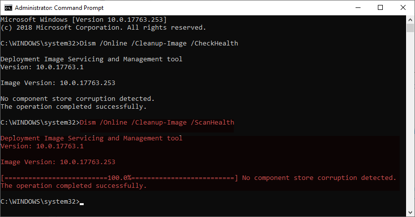 Command prompt showing the DISM command having been run and the results stating No component store corruption detected, as well as The operation completed successfully.