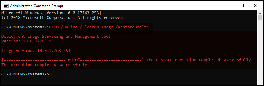 Image of Administrator Command Prompt showing result of running the DISM /Online /Cleanup-Image /RestoreHealth command
