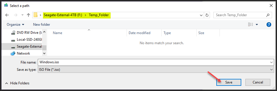 Snapshot of Windows File Explorer showing the path where to save the Windows.iso file. Select desired location and click Save.