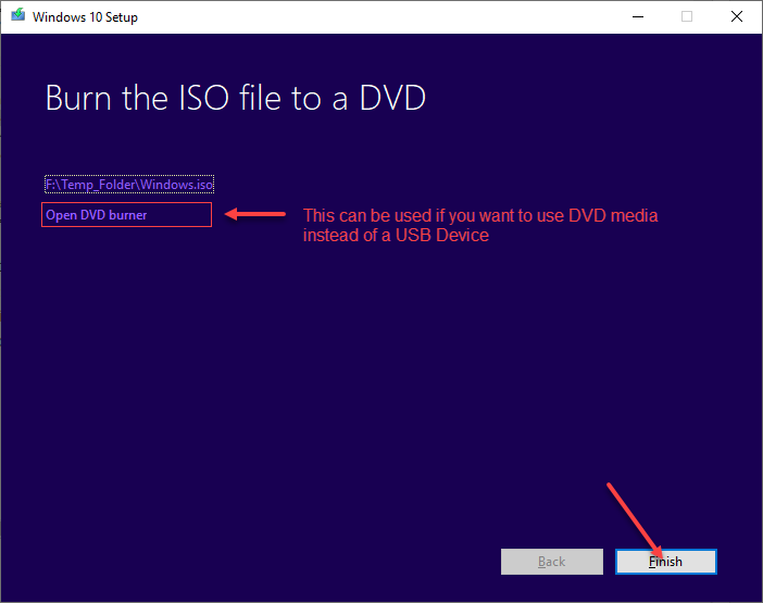 Snapshot showing Burn the ISO file to a DVD - just click the Finish button.