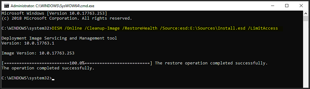 Snapshot of command window showing a completed successfully dialog after running the DISM command described above