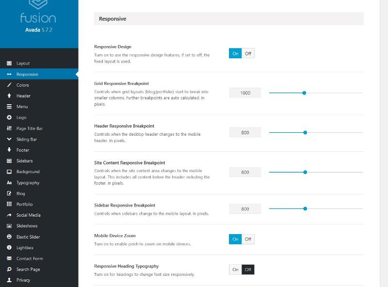 mobile breakpoint options in Avada theme