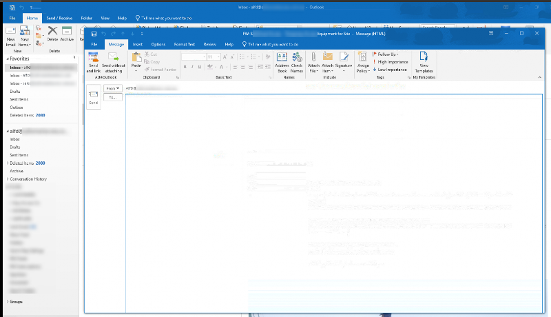 The TO fields fills the whole screen  in Outlook