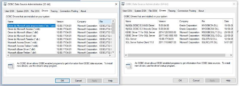 Both odbc administrators from Windows 10