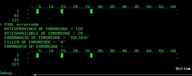 Print Screen of a debug session showing the SQL7042 error