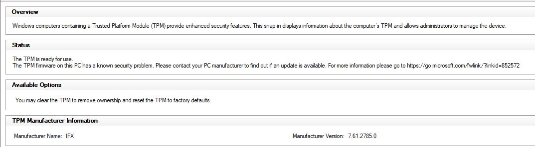 Unable to Clear the TPM in Lenovo ThinkCenter models