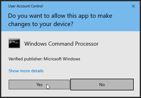 Screenshot showing User Account Control UAC prompt. Click the Yes button