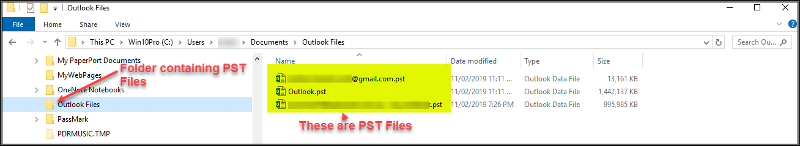 PST Files shown in Windows File Explorer
