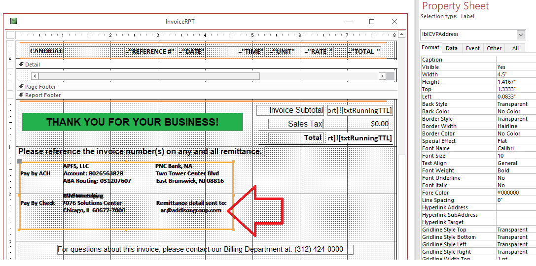MS Access Conditional formatting on a Label