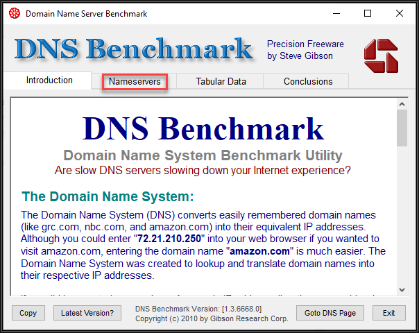 Image of the DNS Benchmark utility showing four tabs. Introduction, Nameservers, Tabular Data, and conclusions. An explanation of what the tool does is included in the image.