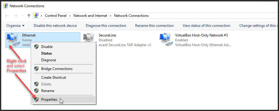 Image of Network Connections window showing all adaptors installed