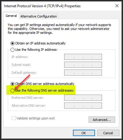 Image showing TCP/IPv4 Properties Window
