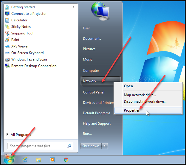 Image showing the Windows 7 start menu after right clicking the Network option and selecting Properties