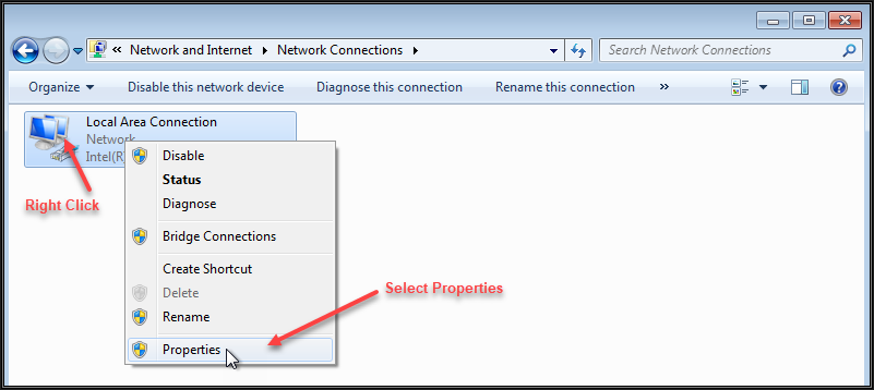 Image showing the Windows 7 Network Connections window and where to right click the network adapter and select properties
