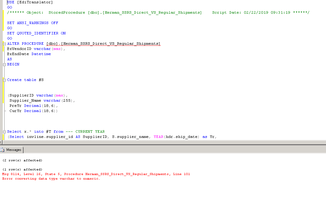 SQL Stored Procedure - Error converting data type varchar to