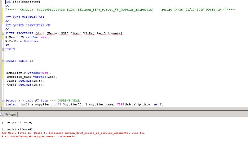 SQL SP Error converting data type varchar to numeric