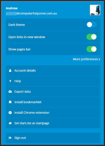 Image of Preferences Screen in Start Me