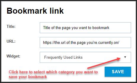 Image of a Bookmark link dialogue box