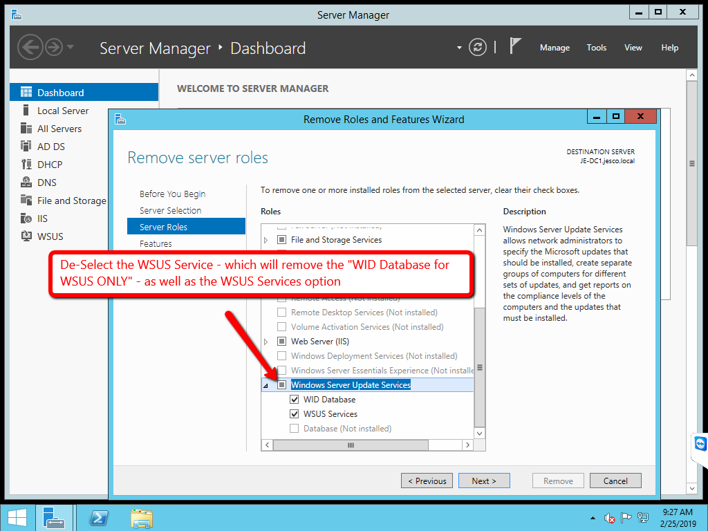 WSUS - SUSDB (Recovery Pending) state - want to fully remove