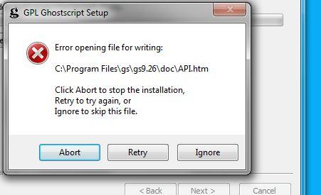 GhostScript Install Error