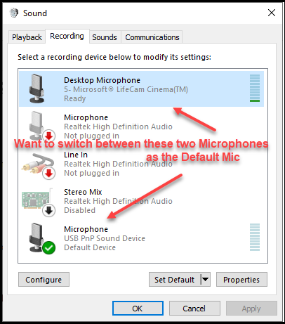 Change Default Mic in Windows 10 using a script of some type.