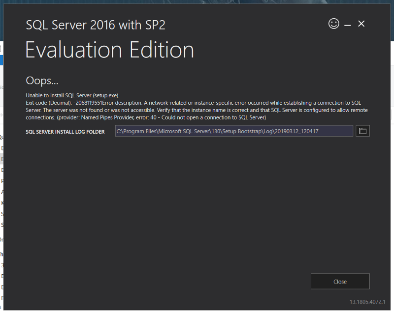 SQL Server installation error