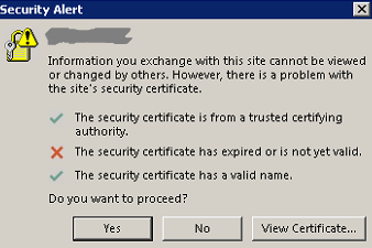 Exchange Certificate Issue