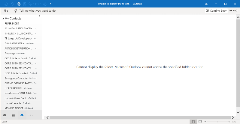 Outlook Data Error Message