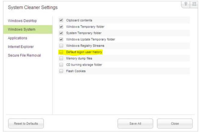 do not delete user logon settings