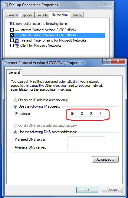 Dial-up Network Adapter IP address