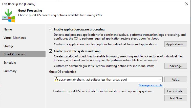 Fail to backup a linux vm with veeam