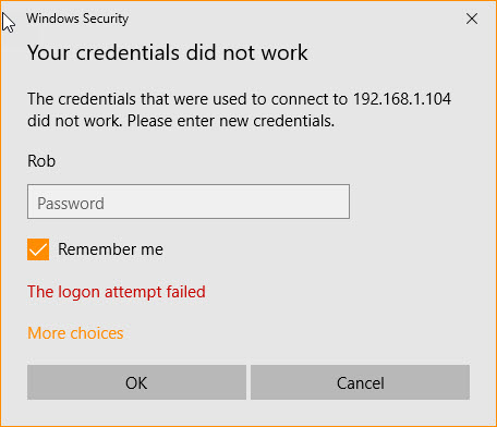 Local User Admin Me Error