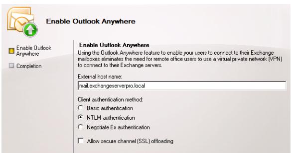 Outlook anywhere (Exchange 2010 & Exchange 2013)