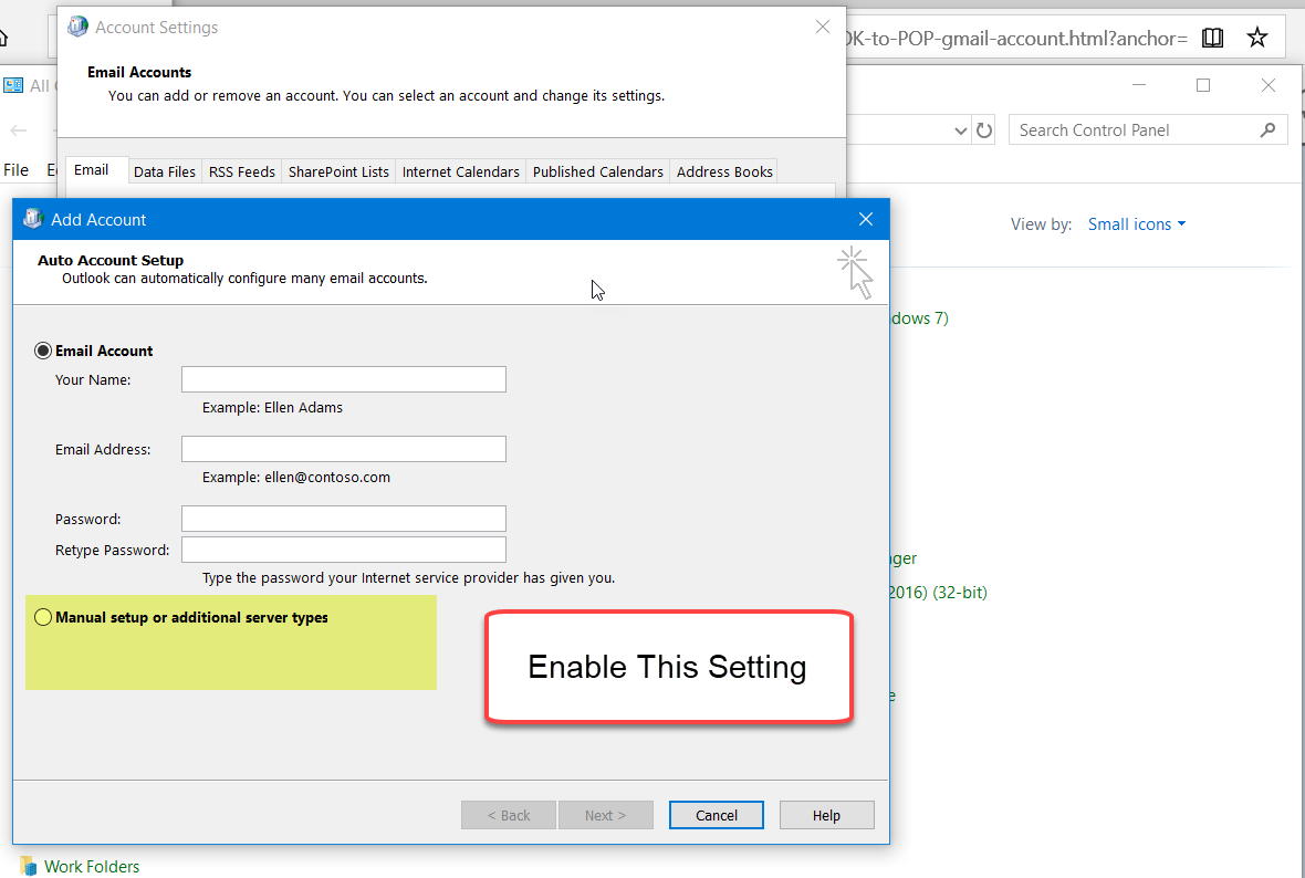 Unable to setup MS OUTLOOK to POP gmail account