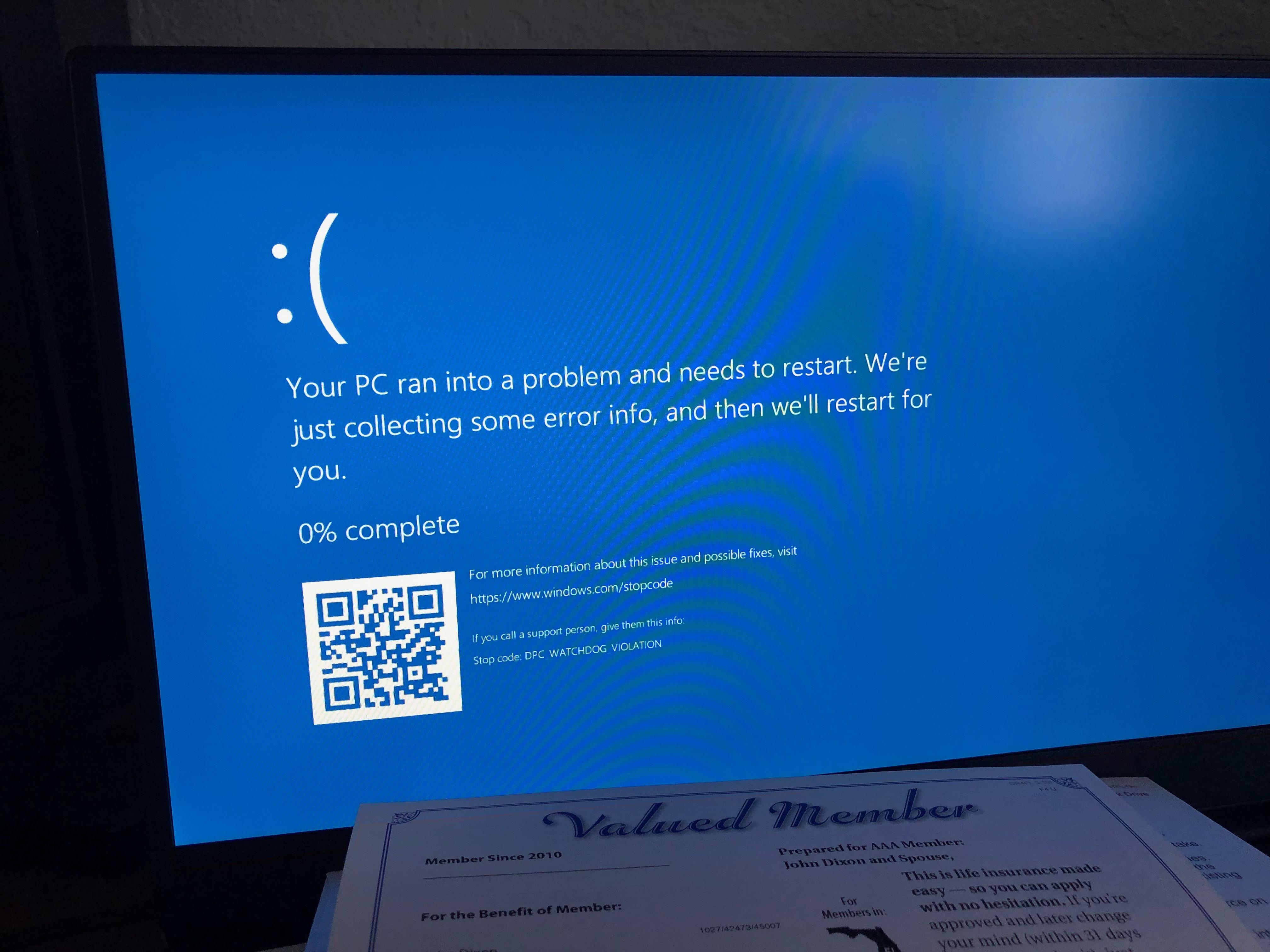 dpc watchdog violation windows 10 dell xps