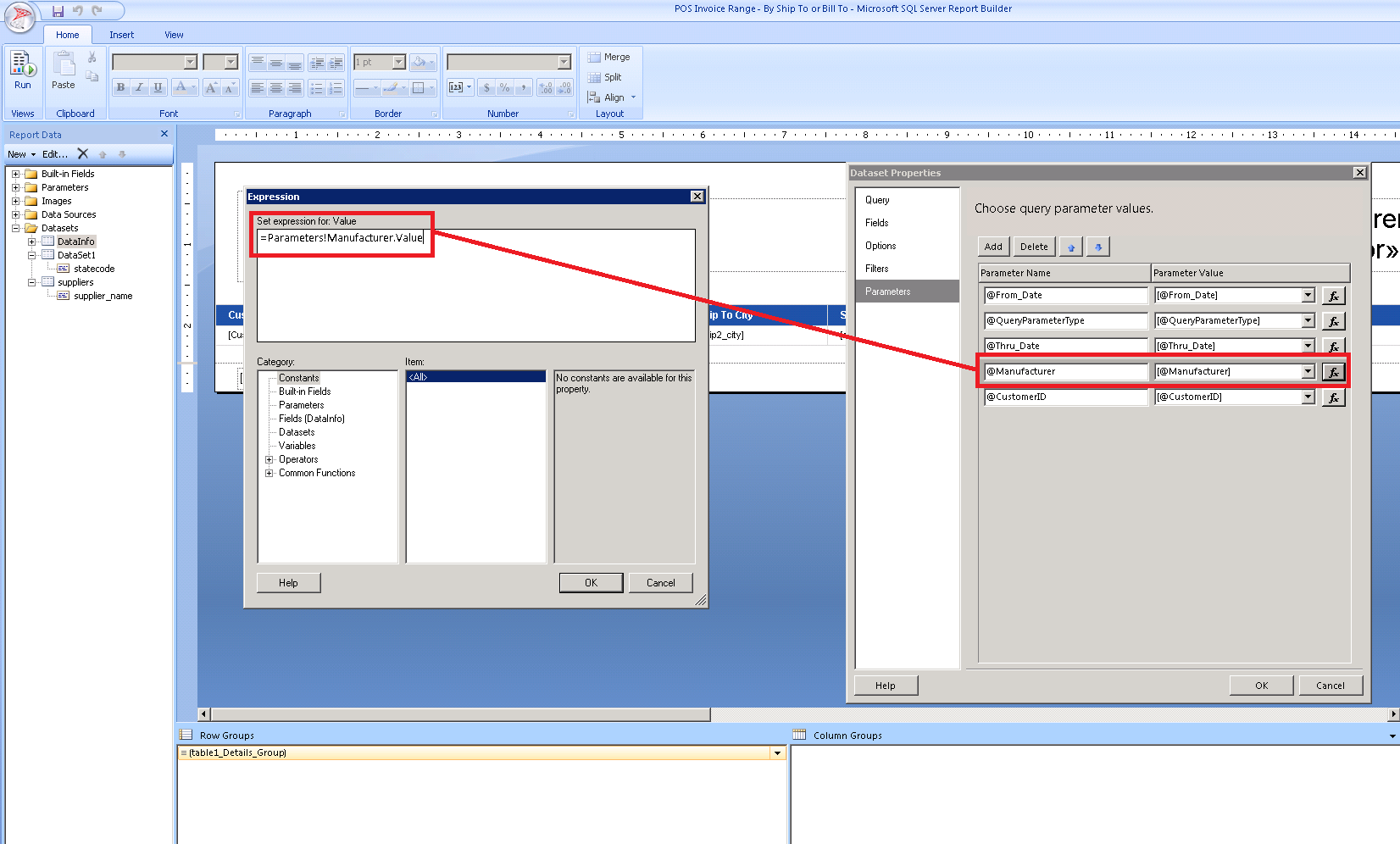 SSRS - Hidden expression contains an error: Overload