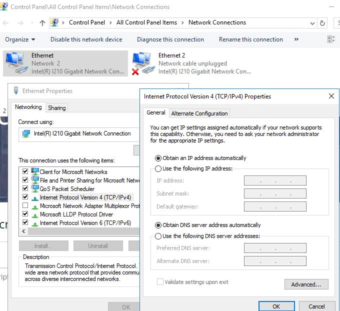 Server TCP/IP Property
