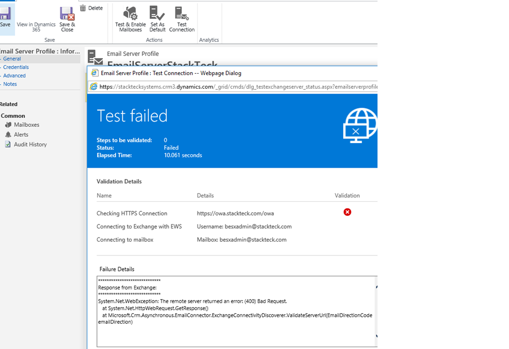 EWS integration error with office dynamics 365