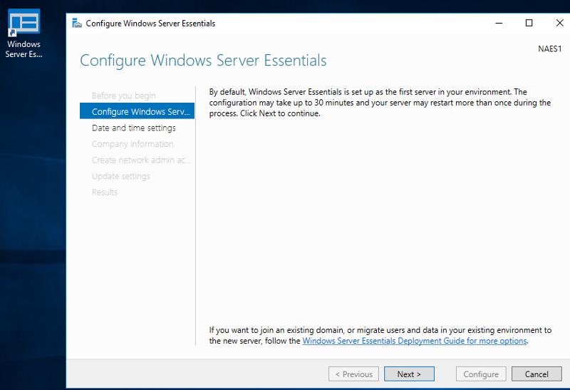 Configure Server Essentials