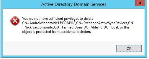 Error message preventing deletion of Admin user