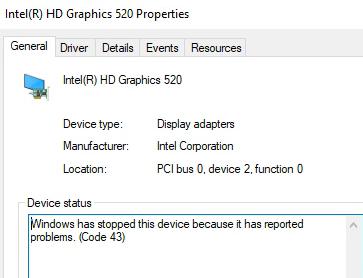 INTEL Video driver error