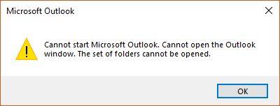 Outlook (Office 365) fatal error: Cannot start Microsoft Outlook