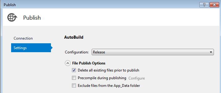 Publish Build Setting