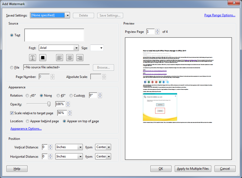 Step3 - Add Watermark dialog