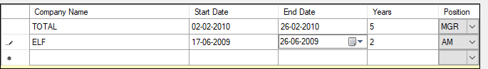 Grid Data Showing 2 records constituted into a DataTable