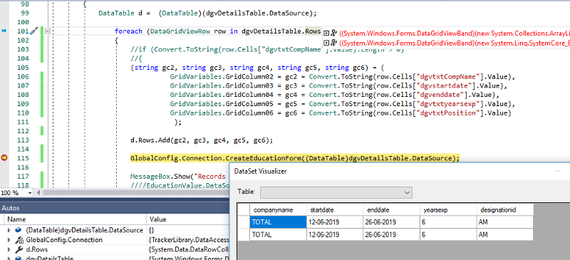 Record Duplicated in Method Where Datatable is Constituted