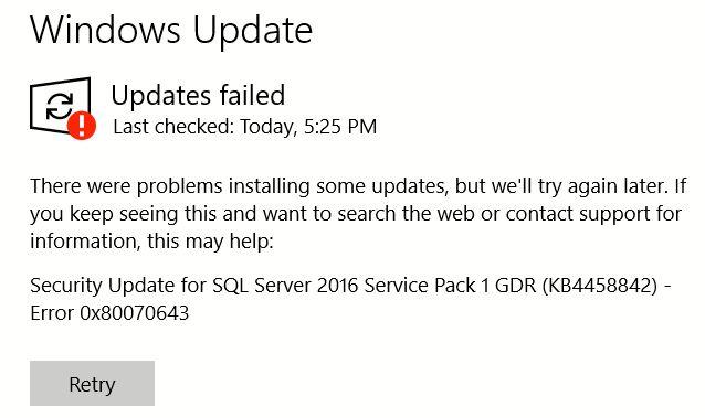 sql 2016 windows update