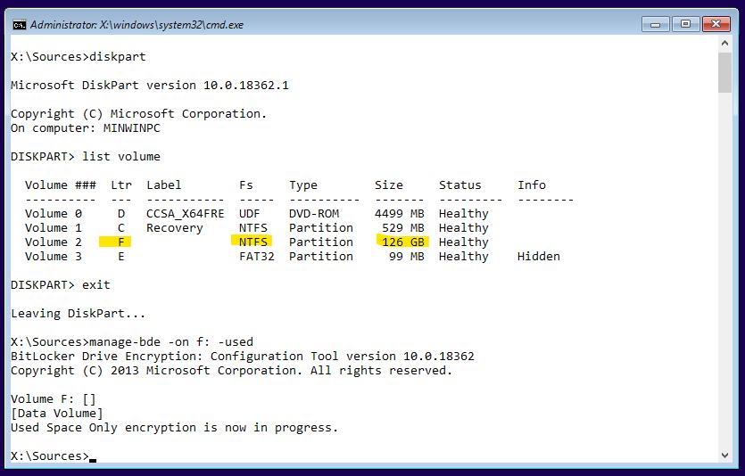 How to manually pre-provision Bitlocker