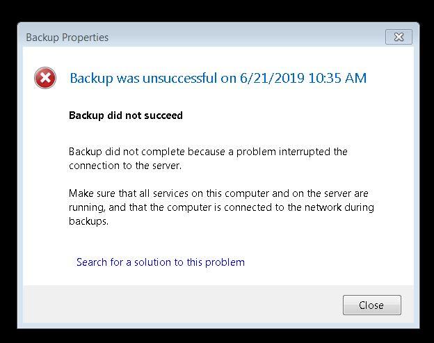 Workstation BackUp Error Message