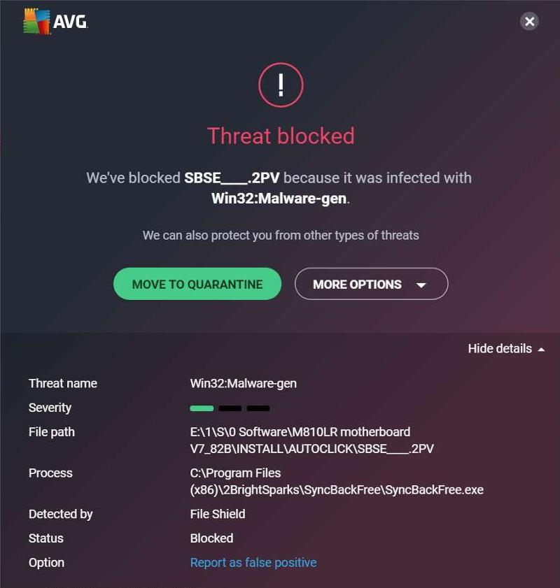 AVG threat blocked while Syncback does backup